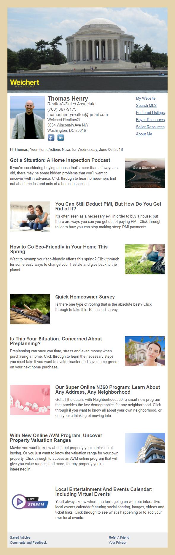 Weichert REALTORS® - HomeActions Sample Email Newsletter